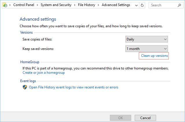 delete back up files