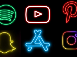 Neon app icon details on iOS and Android